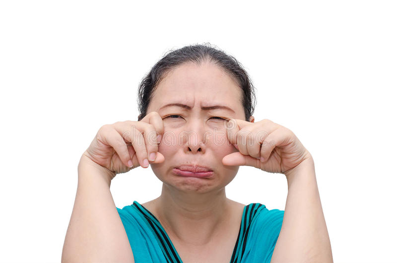 Woman crying with funny face royalty free stock image