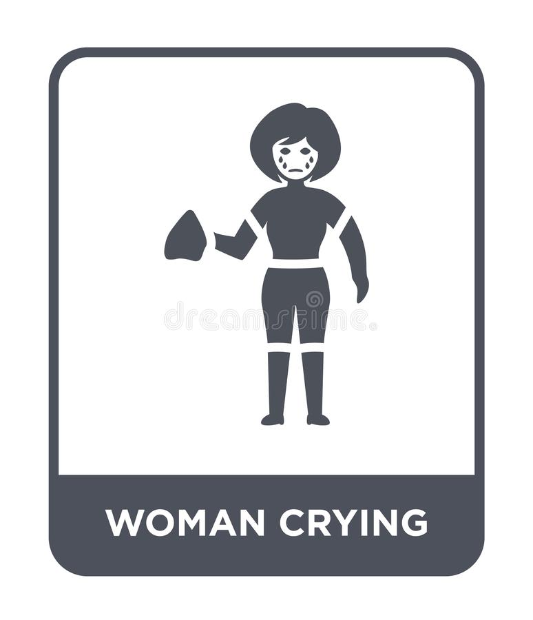 woman crying icon in trendy design style. woman crying icon isolated on white background. woman crying vector icon simple and stock illustration