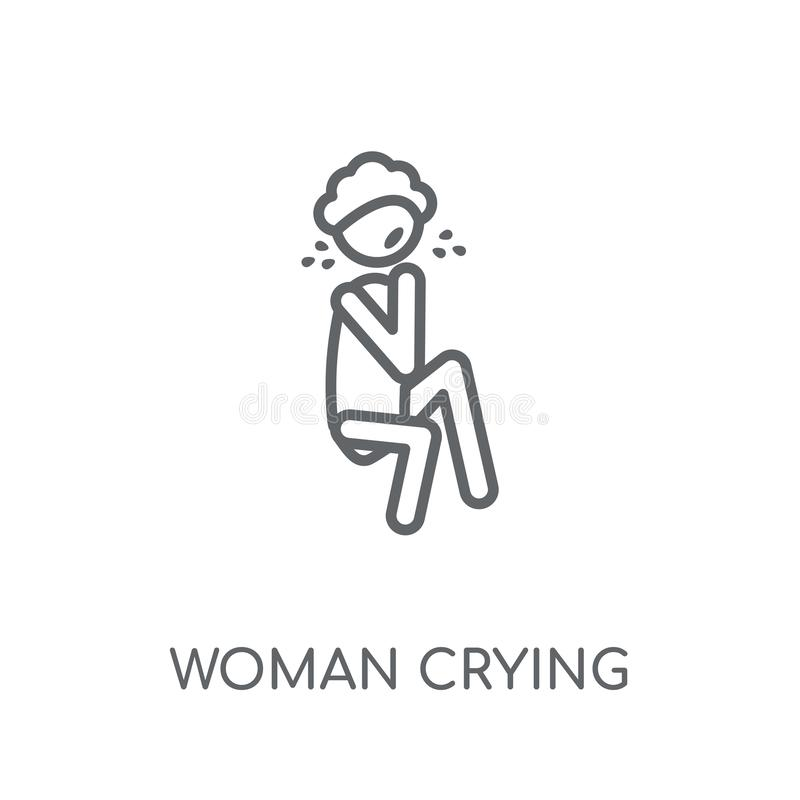 Woman Crying linear icon. Modern outline Woman Crying logo conce vector illustration