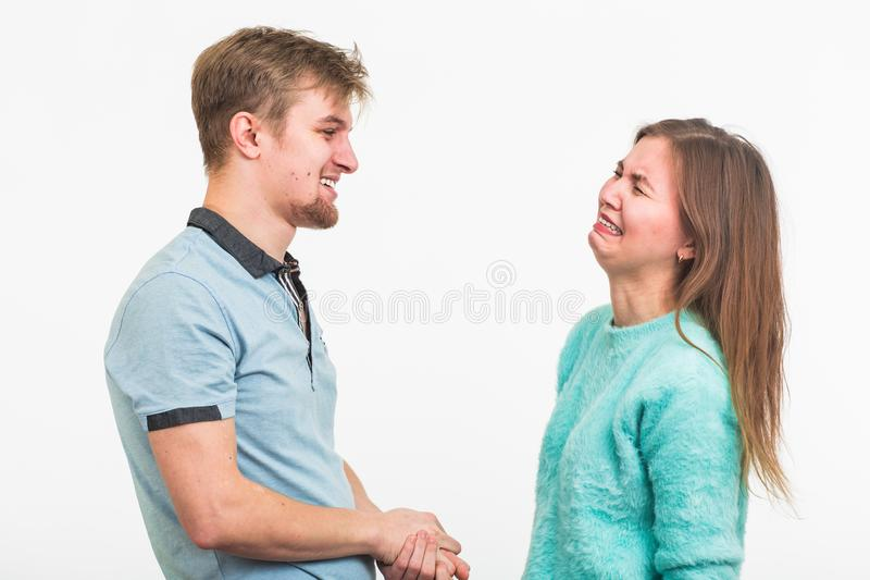 Woman crying after relationship difficulties with husband stock photo
