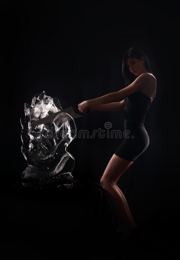 Download Woman and a crystal statue stock photo. Image of elegance - 24794198