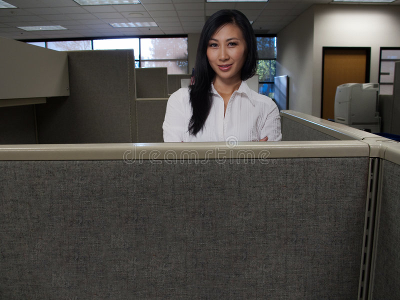 Woman In Cubicle Royalty Free Stock Images
