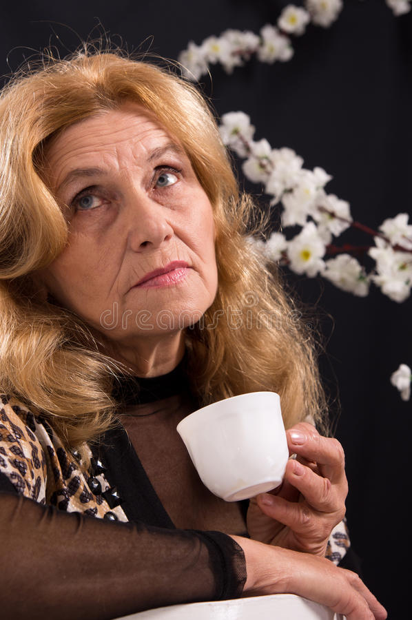 Download Woman with cup stock image. Image of elderly, modern - 21968631