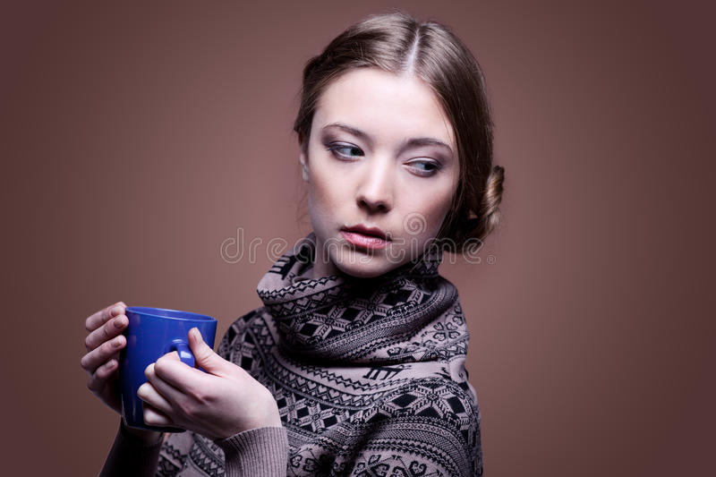 Download Woman In With Cup Of Aromatic Coffee Royalty Free Stock Images - Image: 23674999