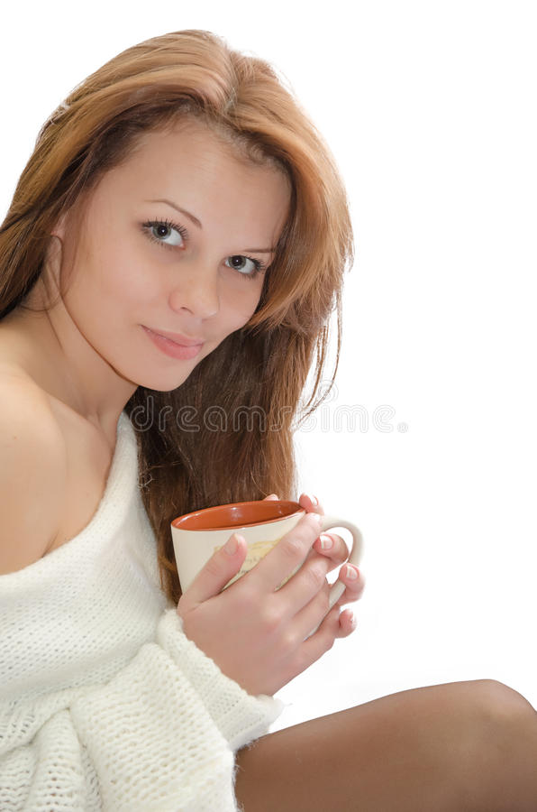 Woman with a cup. royalty free stock photos