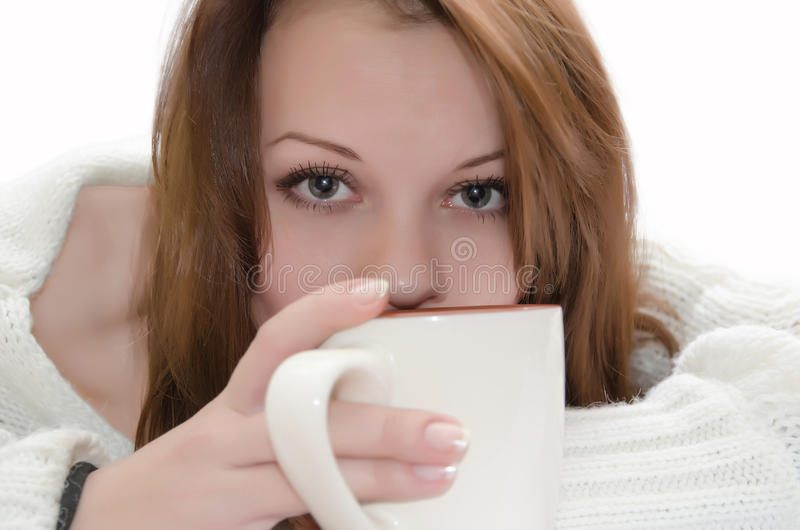 Woman with a cup. stock images
