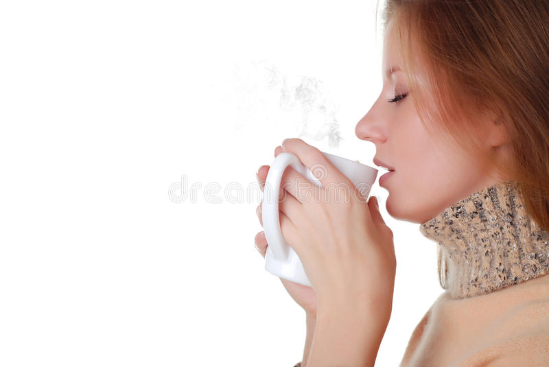 Woman and cup of coffee stock photography