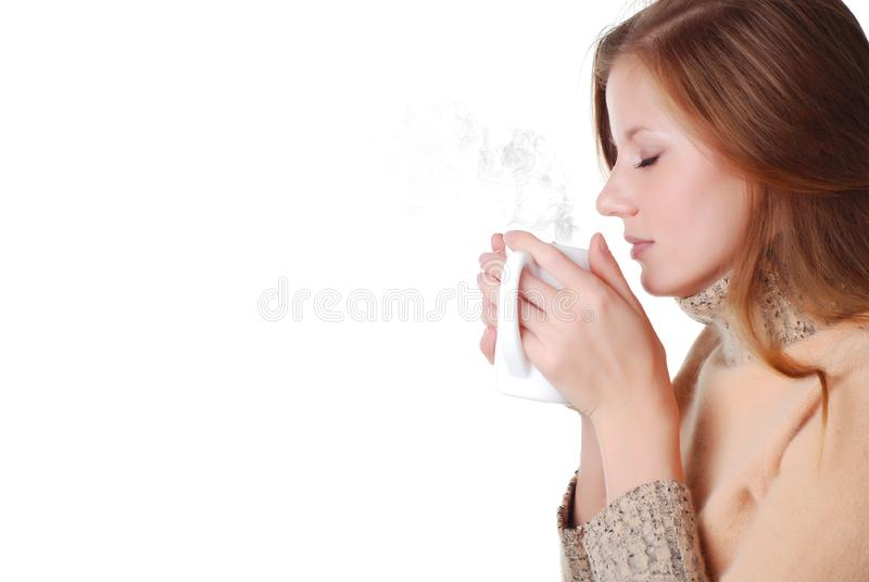Woman and cup of coffee royalty free stock image