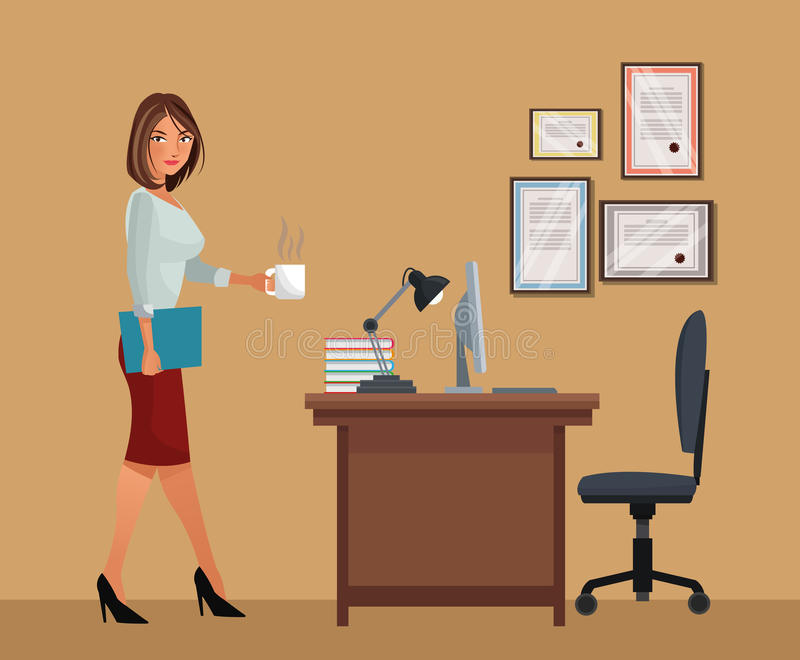 Woman with cup coffee office desk chair laptop lamp royalty free illustration