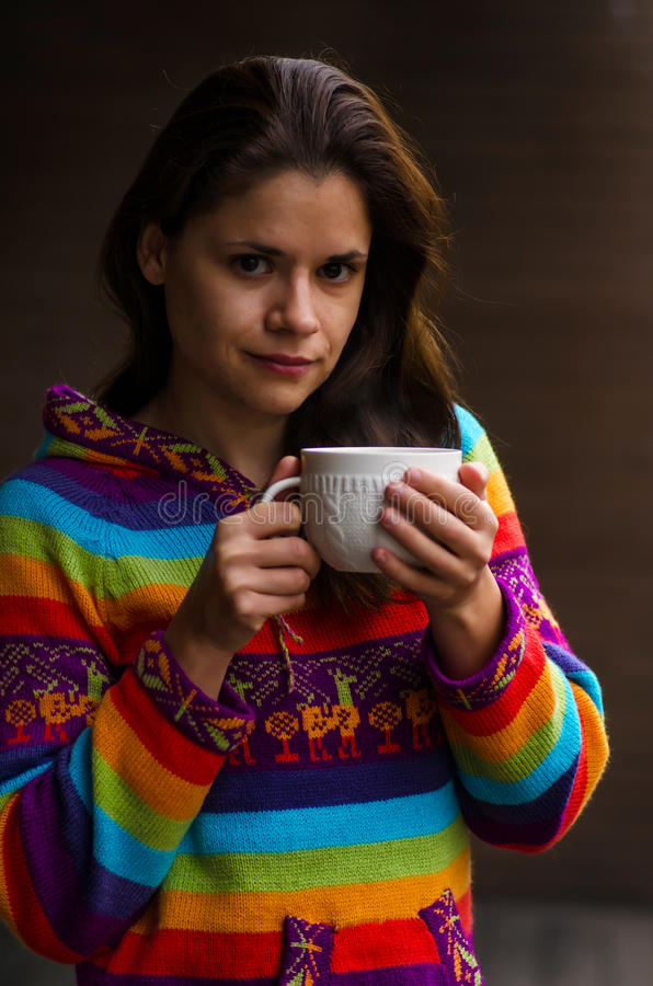 Woman with cup of hot chocolate stock images