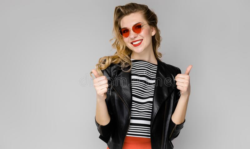 Attractive woman in fashionable clothes royalty free stock image