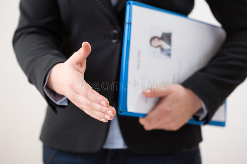 Woman with curriculum vitae. Horizontal view of woman with her curriculum vitae stock photos