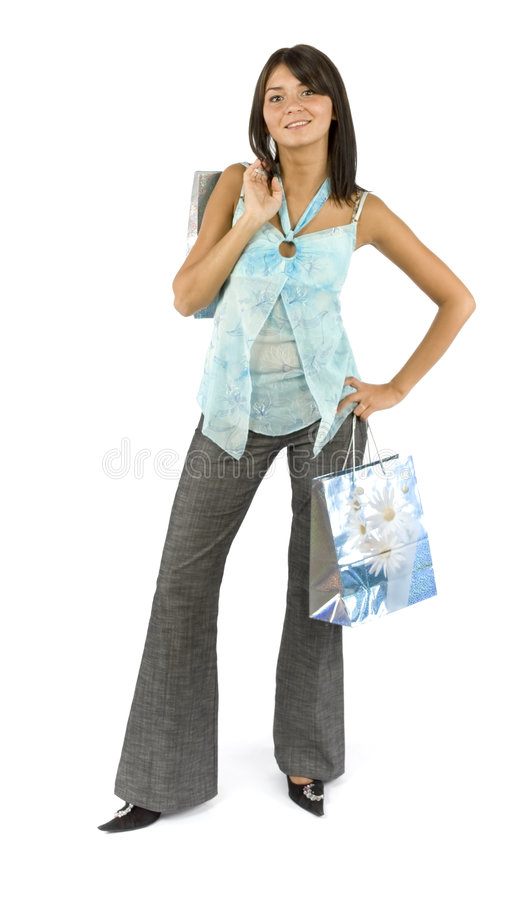 Woman - customer with paper bags royalty free stock image