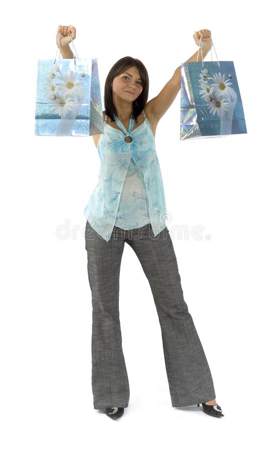 Woman - customer with paper bags royalty free stock images