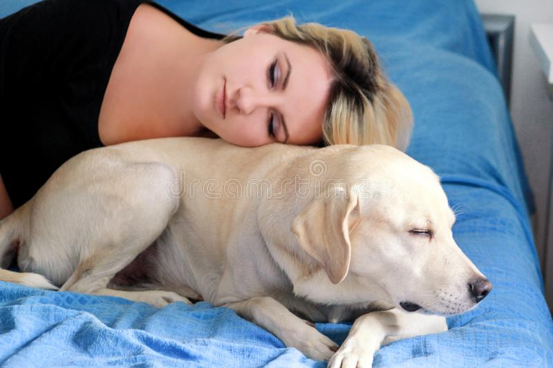 Woman with cute dogs at home. Handsome girl resting and sleeping with her dog in bed in bedroom. Owner and dog sleeping in sofa. stock photo