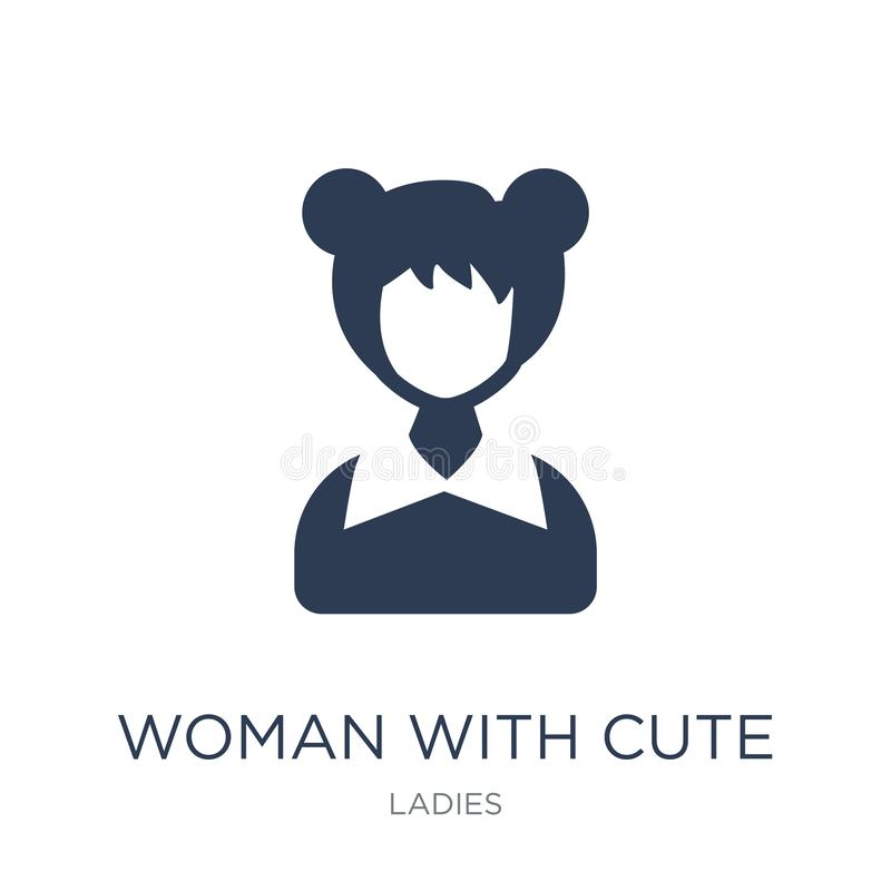 Woman with Cute Hairstyle icon. Trendy flat vector Woman with Cu stock illustration