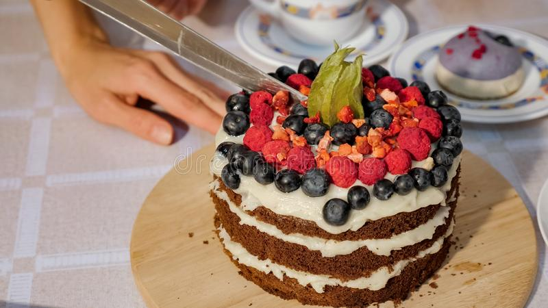 Woman cuts a piece of birthday homemade chocolate cake with cream and sponge cakes layers decorated fresh berries royalty free stock photos