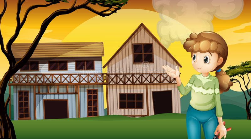A woman with a cutter standing in front of the houses. Illustration of a woman with a cutter standing in front of the houses stock illustration
