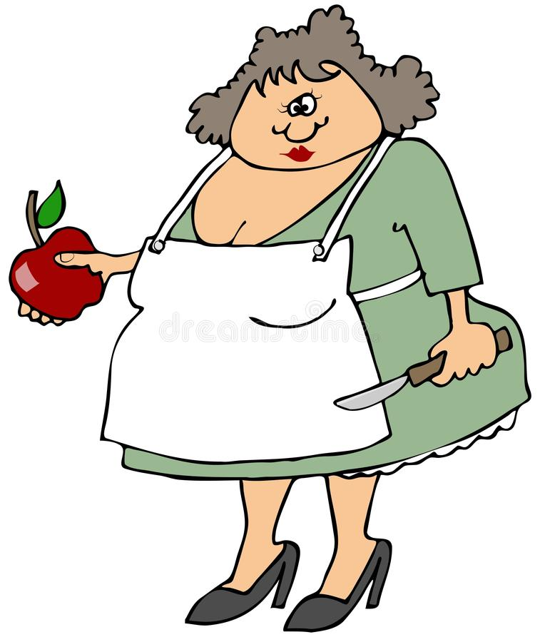 Download Woman cutting an apple stock illustration. Image of knife - 34721989
