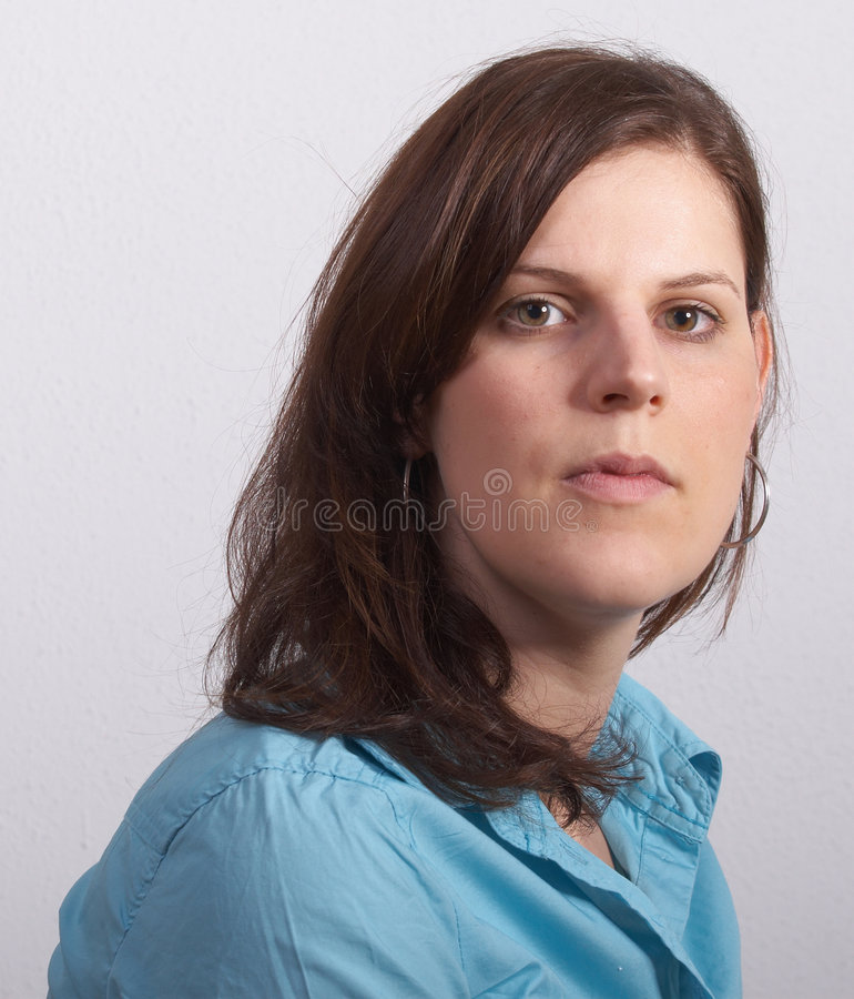 Woman in cyan royalty free stock image