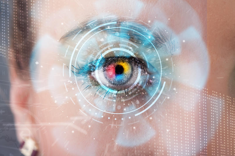 Woman with cyber technology eye. Future woman with cyber technology eye panel concept royalty free stock images