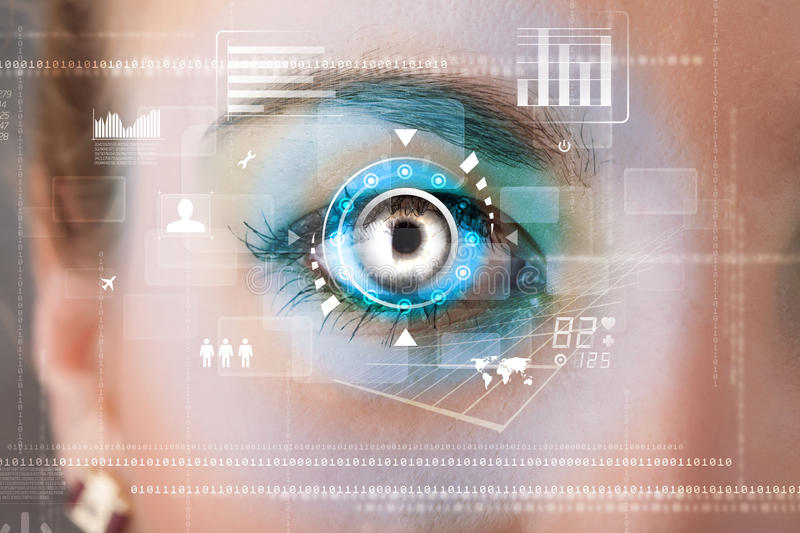 woman with cyber technology eye panel concept royalty free illustration