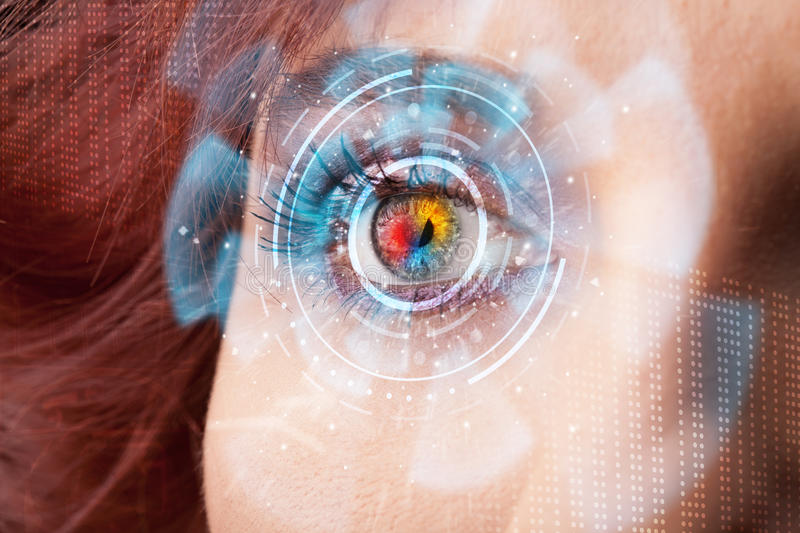 Woman with cyber technology eye panel concept. Future woman with cyber technology eye panel concept stock photography