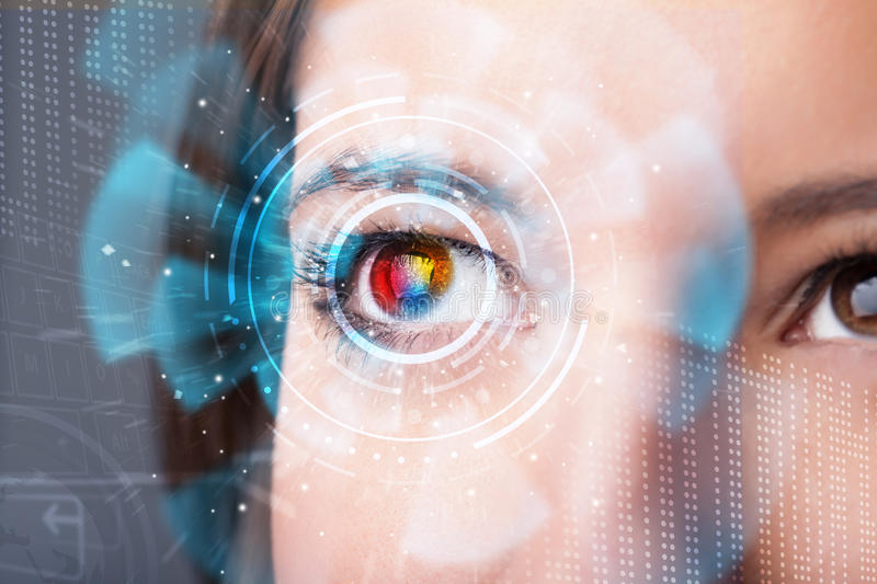 Woman with cyber technology eye panel concept. Future woman with cyber technology eye panel concept royalty free stock photo