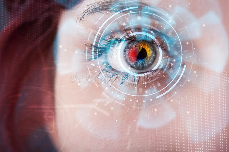 Woman with cyber technology eye panel concept. Future woman with cyber technology eye panel concept royalty free stock photography
