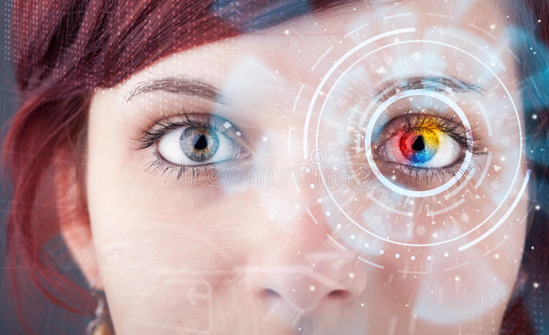 Woman with cyber technology eye panel concept. Future woman with cyber technology eye panel concept royalty free stock image