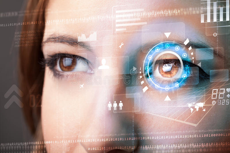 Woman with cyber technology eye panel concept. Future woman with cyber technology eye panel concept royalty free stock photos