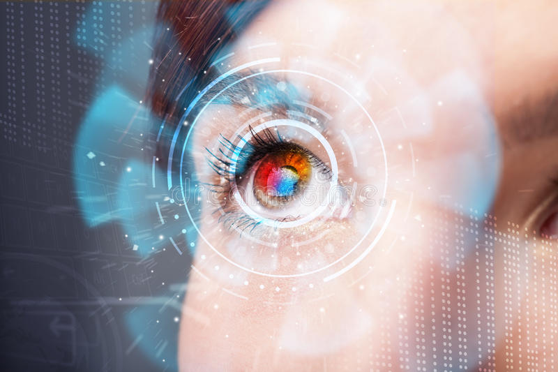 Woman with cyber technology eye panel concept. Future woman with cyber technology eye panel concept stock images