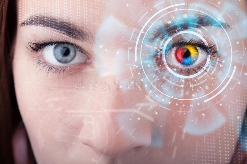 Woman with cyber technology eye panel concept. Future woman with cyber technology eye panel concept stock image