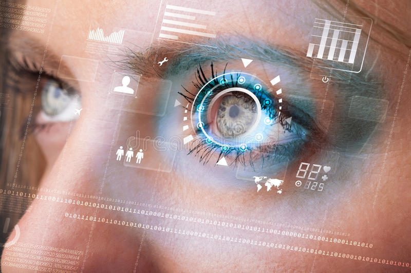 Woman with cyber technology eye panel concept. Future woman with cyber technology eye panel concept stock photo