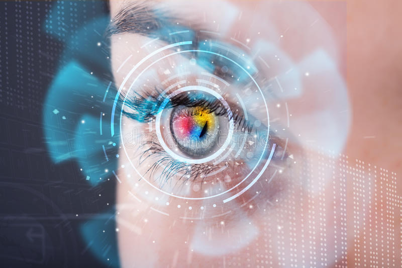 Woman with cyber technology eye panel. Future woman with cyber technology eye panel concept royalty free stock photography