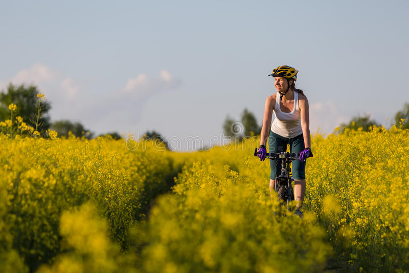 Woman is cycling stock images