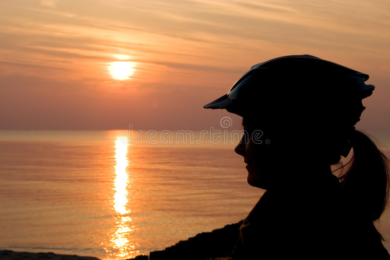 Download Woman cyclist silhouette stock image. Image of bike, profile - 3479783