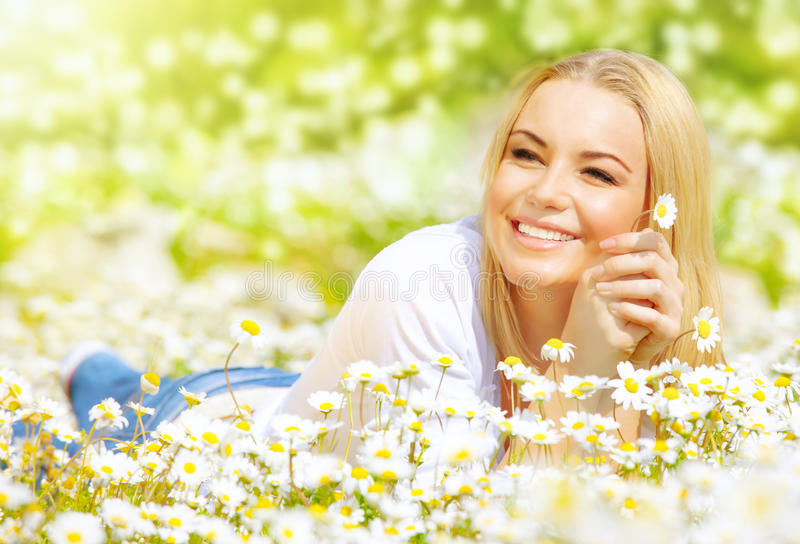 Download Woman on daisy field stock photo. Image of hold, flowers - 29259036