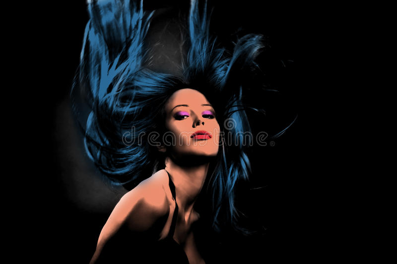 Woman in dance motion pop art style stock images