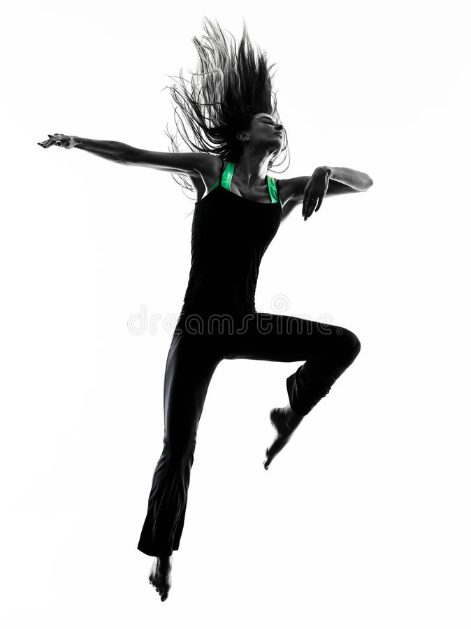 Woman dancer dancing silhouette. One woman dancer dancing in studio silhouette isolated on white background royalty free stock image