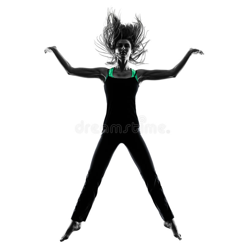 Woman dancer dancing silhouette. One woman dancer dancing in studio silhouette isolated on white background royalty free stock photo