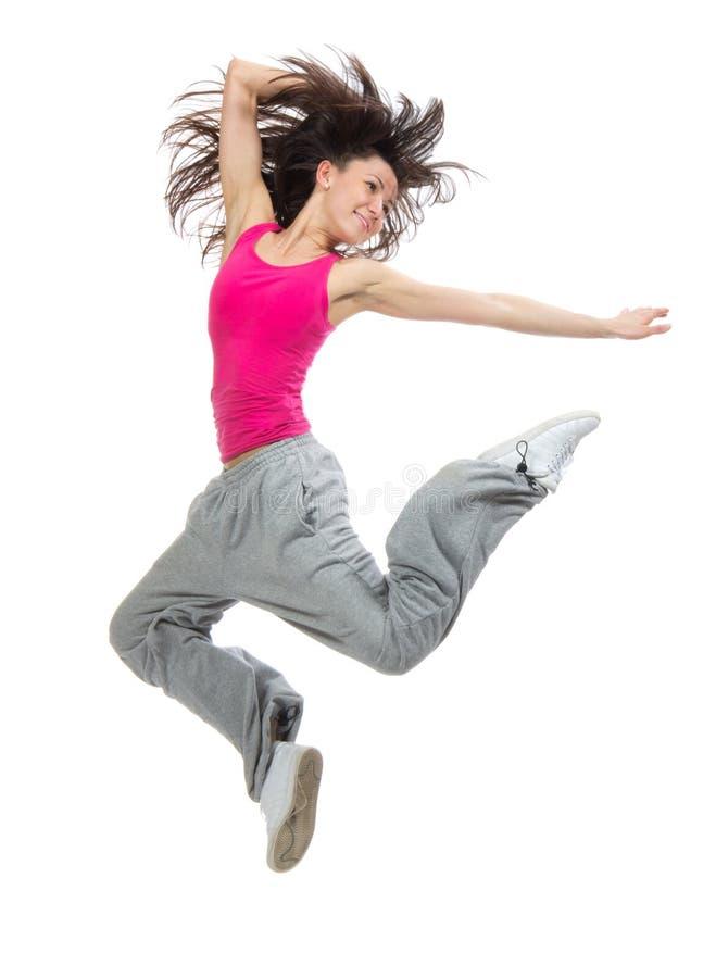 Woman dancer jumping dancing royalty free stock image