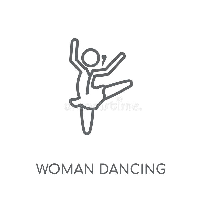 Woman Dancing Ballet linear icon. Modern outline Woman Dancing B. Allet logo concept on white background from Ladies collection. Suitable for use on web apps stock illustration