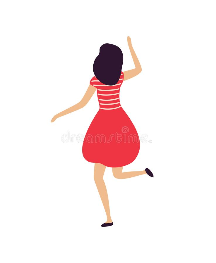 Woman Dancing in Club Person Jumping Female Dancer vector illustration