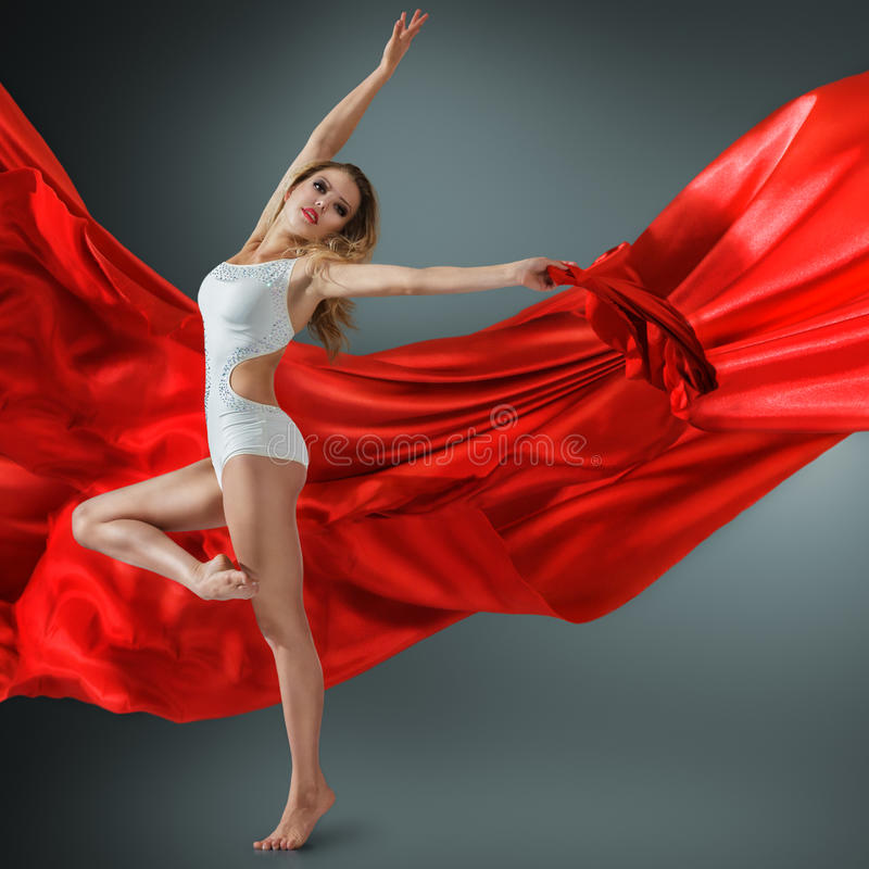 Download Woman Dancing With Flying Fabric Stock Image - Image: 31638715