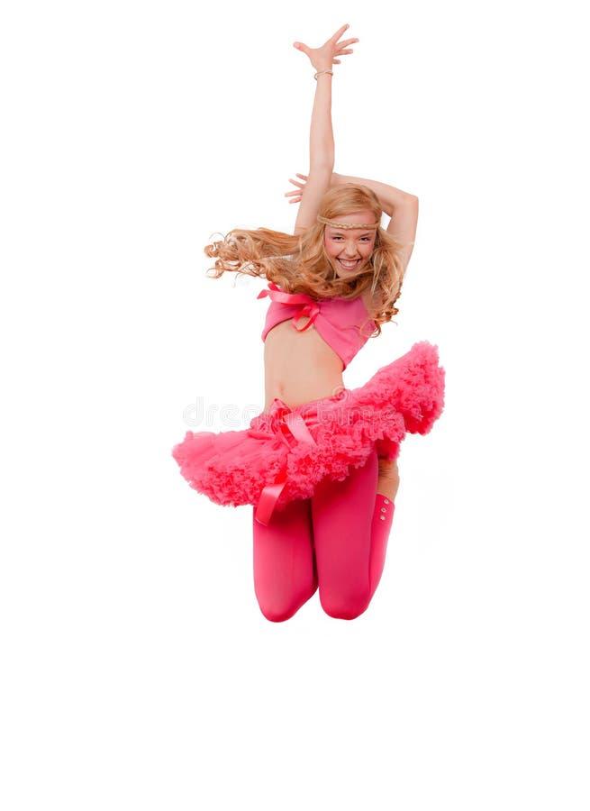 Woman dancing jumping royalty free stock images