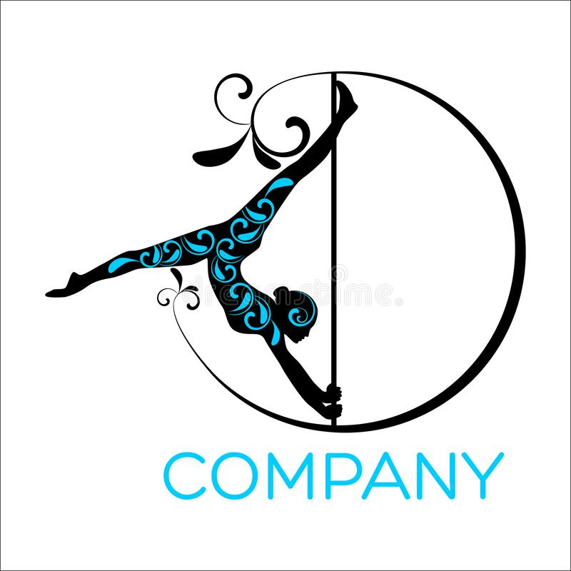 Woman dancing on a pole logo royalty free illustration