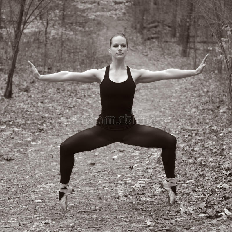 Woman Dancing in the Woods stock image