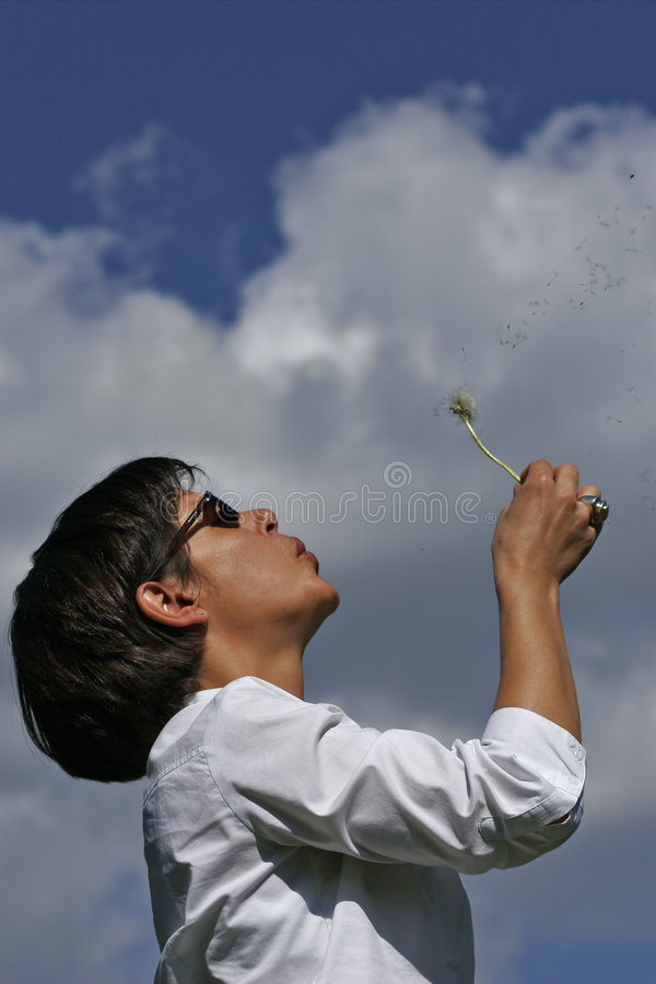 Woman and dandelion stock photography