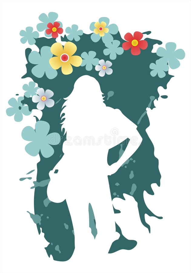 Woman on a dark background. White female silhouette on a grunge green background royalty free illustration